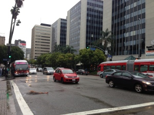 Wilshire and Normandie.  How do we drive in the rain again?