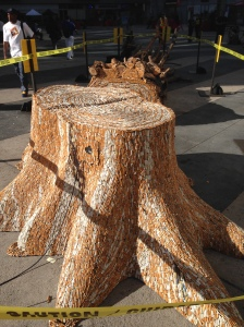A dead tree created out of cigarette butts by artist Cristo Valecillos.