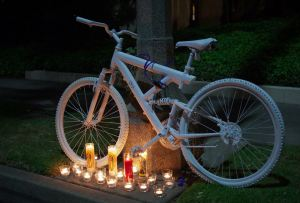 Ghost bike of Phillip O'Neill.  Image borrowed from the BikinginLA blog.