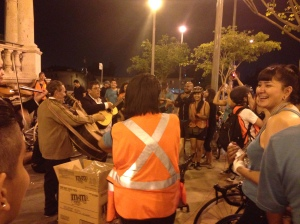 Riders and locals alike enjoy the cultural flavor at Mariachi Plaza in Boyle Heights