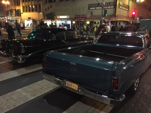 Classic car show at Night on Broadway