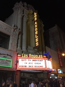 The marquee at the Historic Los Angeles Theater