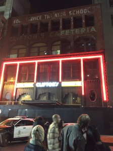 The neon sign at Clifton's Cafeteria was back on for Night on Broadway.  Can't wait for this to reopen!