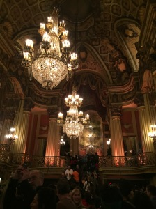 The opulent ceiling and chandeliers at the Los Angeles Theater