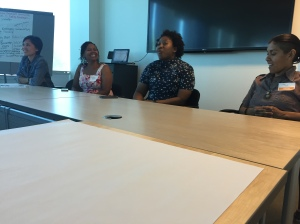 Vanessa Gray, Tamika Butler and Rio Contreras as part of the Community Health and Equality Panel.