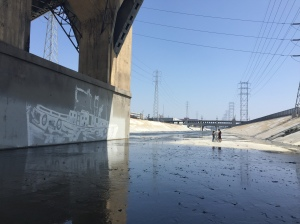 The LA River bed under the 6th Street Bridge.