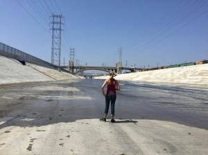 Looking north in the LA River under the bridge.