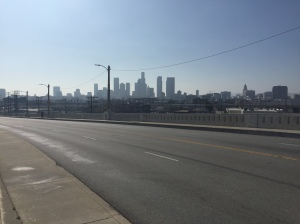 View of the downtown skyline from the bridge.