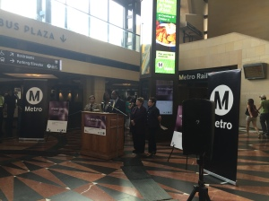 Metro Board Chair and Supervisor Mark Ridley-Thomas speaking at the press conference on October 15, 2015, which launched Metro's latest public outreach campaign to end sexual harassment on buses and trains.