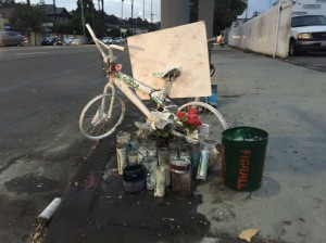 Jose Luna's Ghost Bike memorial near Figueroa and Pasadena.