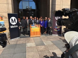 Metro CEO Phillip A. Washington with the Metro board announcing the opening of the Foothill Extension Project.  Photo by Paul Gonzales.