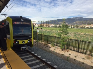The new Kinkisharyo train, which will be taking passengers on the new Gold Line extension.