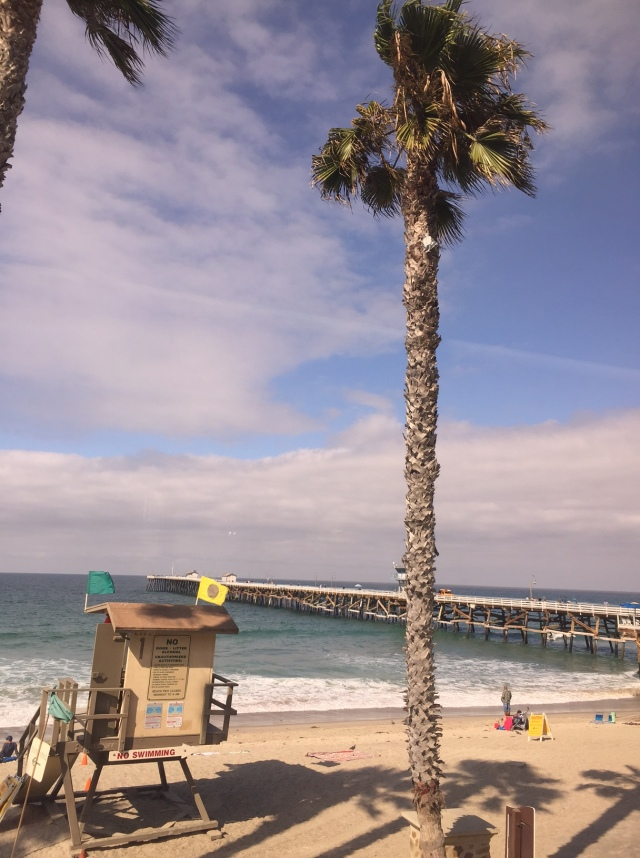 Beautiful view of the San Clemente Pier from the window of the Surfliner
